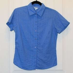 Ladies Short Sleeve Button-Up Shirt Blue Small